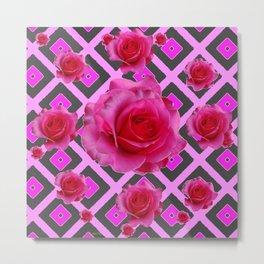 Charcoal-pink Grey Fuchsia Pink Roses  Patterns Metal Print