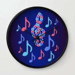 Music notes from roses Wall Clock