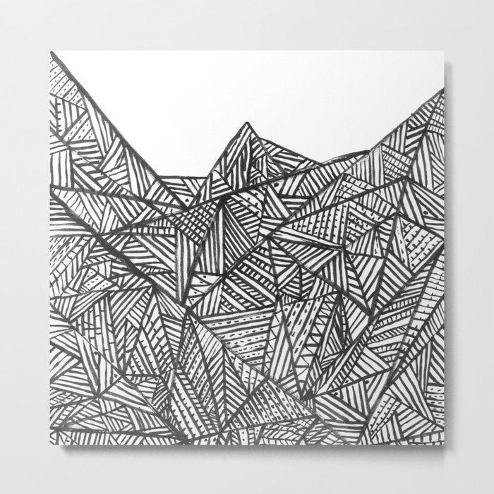 Textured black triangles zentangle pattern Metal Print