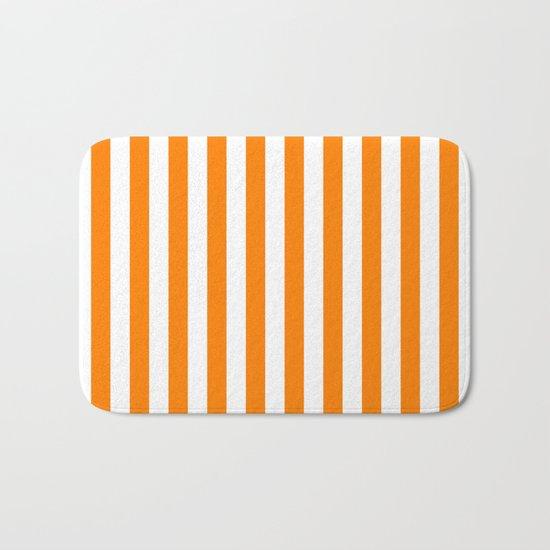 Vertical Stripes (Orange/White) Bath Mat