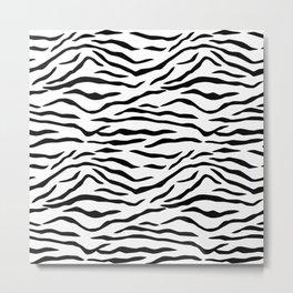 Black and White Tiger Stripes Metal Print