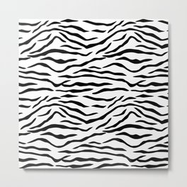 Black and White Tiger Stripes Metal Print