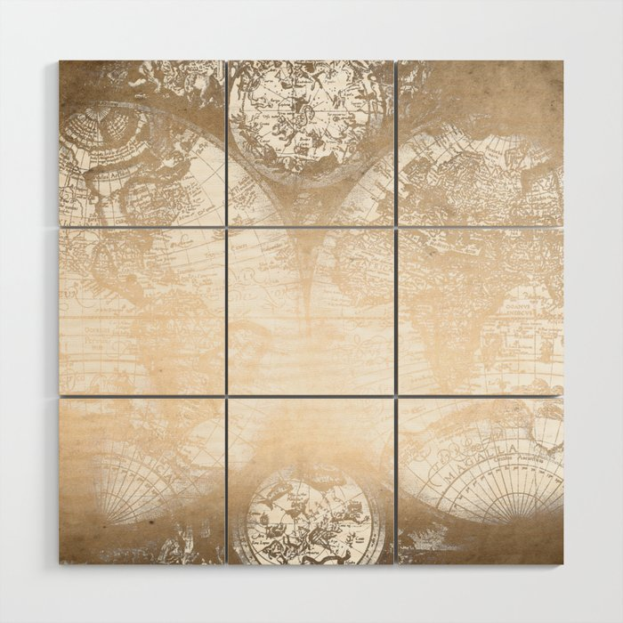 Gold World Map Wall Art.Antique White Gold World Map Wood Wall Art By Naturemagick Society6