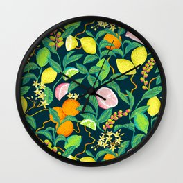 citrus fruits print Wall Clock