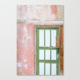 Mural pink I  Caribbean I curacao I door I Pink wall I green color I tropic I sexy pink Canvas Print