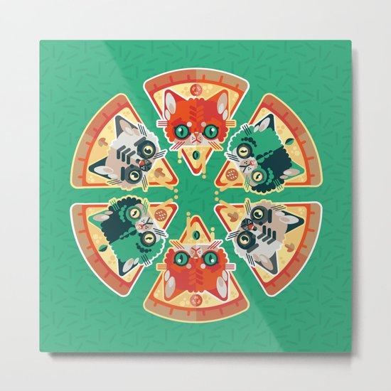 Pizza Slice Cats  Metal Print