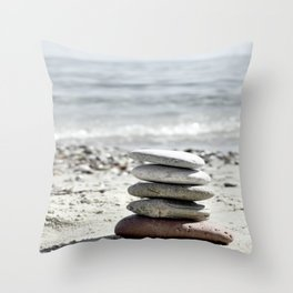 Balancing Stones On The Beach Throw Pillow