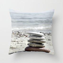 Balancing Stones On The Beach Throw Pillow