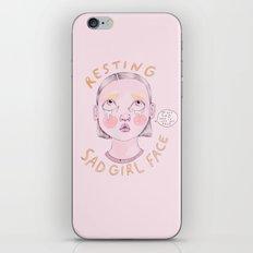 Resting Sad Girl Face iPhone & iPod Skin