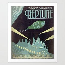 Retro Neptune Travel Poster Art Print