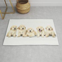Portrait Of Golden Retriever Puppies Rug