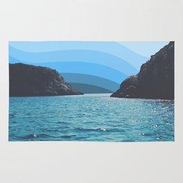 Blue Pantone Sky in Hills Rug