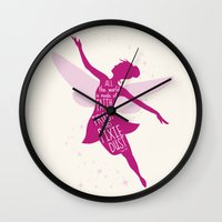 tinker bell Wall Clocks featuring All the World is made of FAITH, TRUST and PIXIE Dust - Tinker Bell Inspired Art Print  by Kitchen Bath Prints