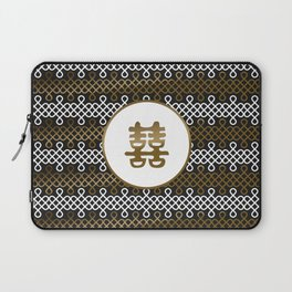 Double Happiness Symbol on Endless Knot pattern Laptop Sleeve
