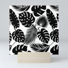 Tropical Leaves - Black on White Mini Art Print