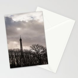 Eiffel tower cloudy day Stationery Cards