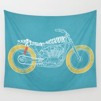motorbike Wall Tapestries featuring work by The Junkers