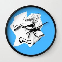 Blue Glitch Scrunch Wall Clock