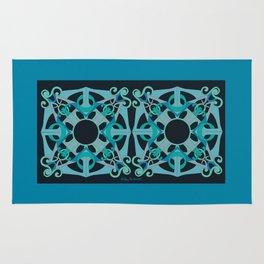 Support Love Mandala x 2 - Teal/Black Rug