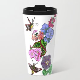 Hummingbird Moths in the blooms of France Travel Mug