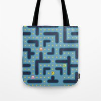 pacman Tote Bags featuring RETRO GAME by Vickn