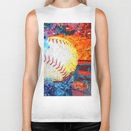 Colorful Baseball Art Biker Tank