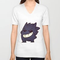 gengar V-neck T-shirts featuring Gengar by Sonny