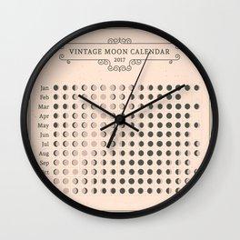 Vintage Moon Calendar 2017 Wall Clock