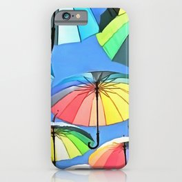Whimsical Floating Umbrellas iPhone Case