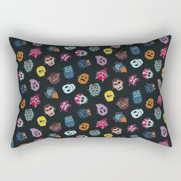 Halloween Mask Pattern Black Rectangular Pillow