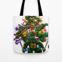 teenage mutant ninja turtles Tote Bags featuring Teenage Mutant Ninja Turtles by Magik Tees