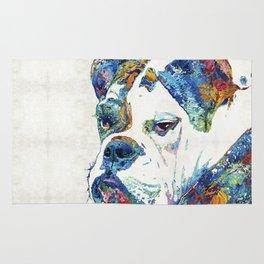 Colorful English Bulldog Art By Sharon Cummings Rug