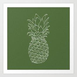 Pineapple (Green Background) Art Print