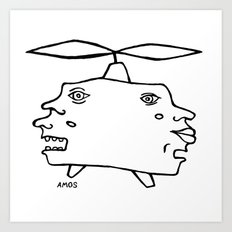 Helicopter Head Art Print