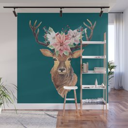 Winter Deer Teal Wall Mural
