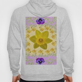 PURPLE PANSIES & DAFFODILS FLOWERS GARDEN MODERN ART Hoody