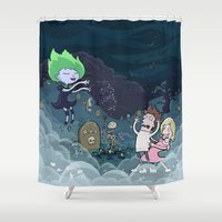 scary Shower Curtains featuring Spooky Scary by brittonandbaer