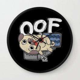 Oof Gamer Meme Internet Culture Gamer Pug Gift Wall Clock