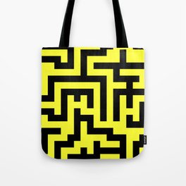 Black and Electric Yellow Labyrinth Tote Bag