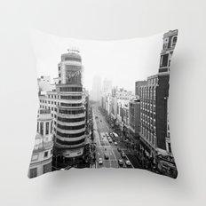 Gran Via in Madrid Throw Pillow