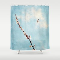 spring Shower Curtains featuring Spring by Paula Belle Flores