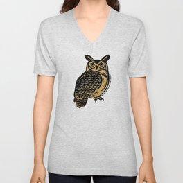 Great Horned Owl Linocut Unisex V-Neck