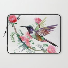 Flying Hummingbird and Red Flowers Laptop Sleeve