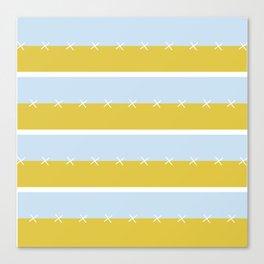 Cream Mustard Blue Stripe Canvas Print