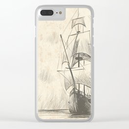 Vintage hand drawn galleon background Clear iPhone Case