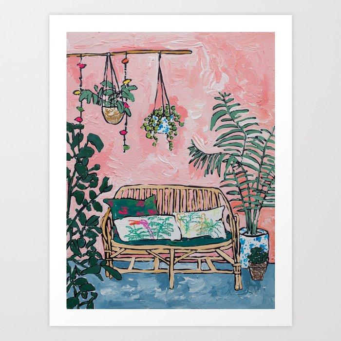 Rattan Bench in Painterly Pink Jungle Room Kunstdrucke