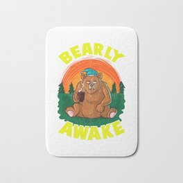 Bearly Awake Sleeping Bear Funny Barely Awake Pun Bath Mat