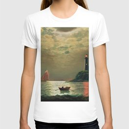 A New England Lighthouse Under the Silver Moon by James Gale Tyler T-shirt