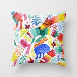 Floral Dragon Throw Pillow