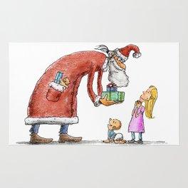 Funny santa claus gift giving illustration Rug